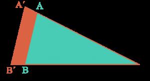 Triángulos en posición de Thales pues comparten un ángulo y los lados opuestos son paralelos