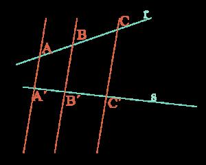 rectas secantes cortadas por paralelas, dan lugar a segmentos proporcionales