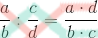 División de fracciones: multiplicación en cruz. Producto de extremos partido de producto de medios