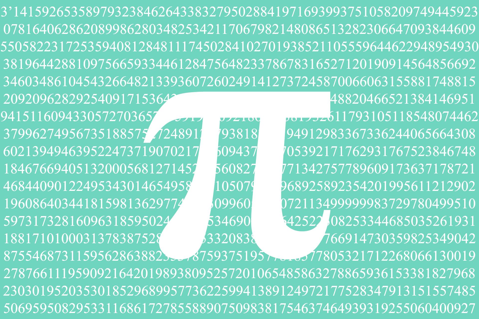 Número pi π con su desarrollo decimal de fondo
