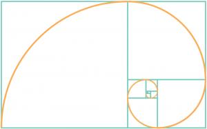División recurrente rectángulos áureos en cuadrados y rectángulos áureos para obtener la forma de espiral por la que se rige la naturaleza